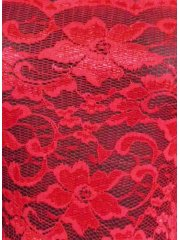 Red Without Scalloped Edge Stretch Lace Lycra Fabric Q1307 RD