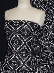 Viscose Cotton Stretch Fabric- Black/White Victorian Design Q1329 BKWHT