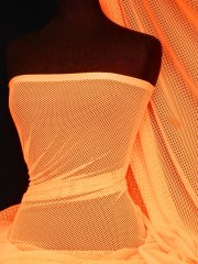 Neon Orange Fishnet / Net Stretch Fabric Material