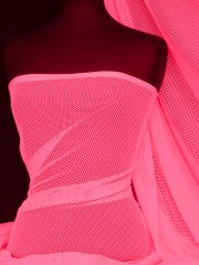 Neon Pink Fish Net Stretch Material