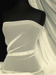 Cream Fish Net Stretch Material