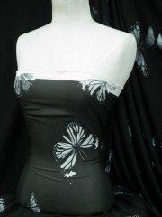 Chiffon Soft Touch Sheer Fabric - Black/Grey/White Butterfly Q1366 BKGRWHT