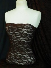 Brown Corded Stretch Lace