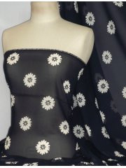 Chiffon Soft Touch Sheer Fabric- Navy/ White Daisy Flower Q1367 NYWHT