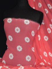 Chiffon Soft Touch Sheer Fabric- Coral/ White Daisy Flower Q1367 CRLWHT
