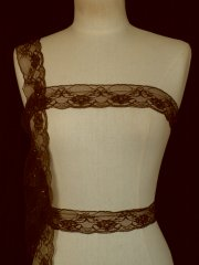 Chocolate Brown Floral Beaded Net Lace Trim