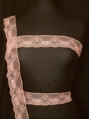 Dusky Pink Floral Beaded Net Lace Trim