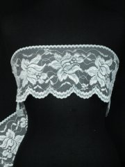 Ivory Lotus Flower Embroidered Scalloped Wide Non-Stretch Lace Trim