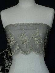 Black/Gold Floral Design Scalloped Extra Wide Non-Stretch Net Trim