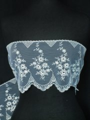 White/Silver Floral Design Scalloped Extra Wide Non-Stretch Net Trim