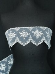 White/Silver Floral Embroidered Scalloped Edged Wide Non-Stretch Net Trim