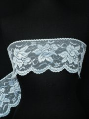 White Lotus Flower Embroidered Scalloped Wide Non-Stretch Lace Trim