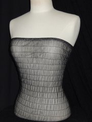 Shirring Power Mesh 4 Way Stretch Material- Black Q1266 BK