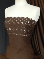 Brown Laser Cut Embroidered Suede Look Fabric Material