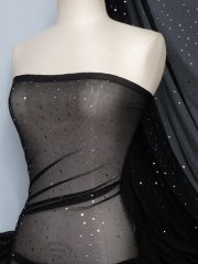 Power Mesh 4 Way Stretch Silver Sequins Fabric- Black Q1379 BKSLV