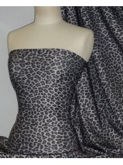 Marcy 4 Way Stretch Poly Lycra Fabric- Grey Leopard Q1377 GRY