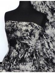 Viscose Cotton Stretch Lycra Fabric- Arianna Black/Grey Splash VSC 07BKGR