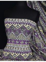 Viscose Cotton Stretch Lycra Fabric- Pam Purple Aztec VSC09 PPL