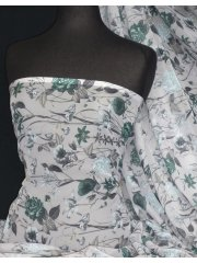 Chiffon Soft Touch Sheer Fabric- Rose Green Vintage CHF21 GRN