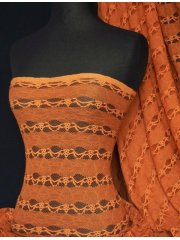 Lace 4 Way Stretch Stripe Fabric- Burnt Orange Q585 BNOR