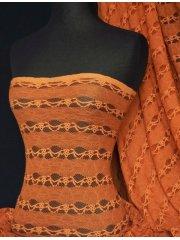 Lace 4 Way Stretch Stripe Fabric- Burnt Orange Q585 BNOR