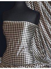 Velvet Spandex Fabric Luxuriously Soft Velvet Material- Champagne/Black Dogtooth PVEL25 CHAMBK