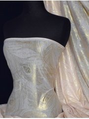 Peach Gold Feather Light Weight Poly Viscose Fabric