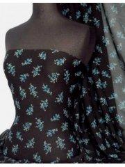 Helenka Mesh Ditsy Sheer Material- Black/ Blue Q922 BKBL