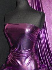 Metallic Foil Lamé Material- Purple On Black Q325 PPLBK