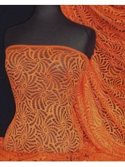 Knitted Crochet Stretch Fabric Material- Orange KNT39 OR