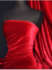 Velvet /Velour 4 Way Stretch Spandex Lycra- Red Q559 RD