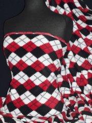 Polar Fleece- Anti Pill Washable Soft Fabric - Red Argyle Check PPFL43 RDBKWH