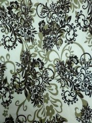Viscose Cotton 4 Way Stretch Victorian Design Fabric- Ivory/Brown Q1077 BRNIV