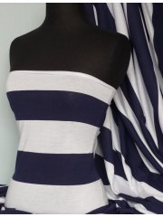 Poly Viscose Light Weight Sheer Fabric- Navy/White Stripe Q1240 NYWHT