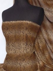 Chiffon Soft Touch Sheer Fabric - Brown Snake Q998 BRN