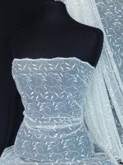 Leaf Embroidered Tulle Net Fabric - Ivory SQ59 IV