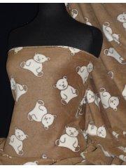 Polar Fleece Anti Pill Washable Soft Fabric- Teddy Bear Toffee PPFL45 TOFWHT