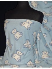 Polar Fleece Anti Pill Washable Soft Fabric- Teddy Bear Baby Blue PPFL45 BBLWHT