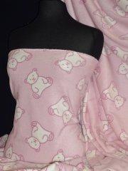 Polar Fleece Anti Pill Washable Soft Fabric- Teddy Bear Baby Pink PPFL45 BPNWHT