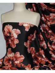 Soft Silky Polyester Dress & Blouse Fabric- Floral Bloom Black/Red POLY57 BKRD