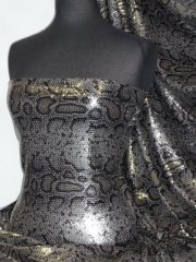 Sequins Snakeskin All Over 4mm Sequins Stitched Fabric - Grey/ Black SEQ54 GRBK