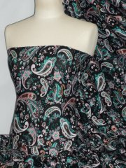 100% Viscose Light Weight Sheer Fabric- Cocktail Paisley Sea Green PVSC174 BKSGR