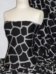 Ponte Double Knit 4 Way Stretch Jersey- Giraffe Black PNT178 BKGR
