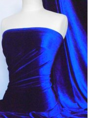 Velvet /Velour 4 Way Stretch Spandex Lycra- Royal Blue Q559 RBL