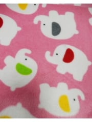 Polar Fleece Anti Pill Washable Soft Fabric- Pink Baby Elephants Q1332 PNWHT