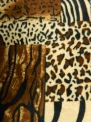 Polar Fleece Anti Pill Washable Soft Fabric- Animal Print Patchwork Q1385 BR