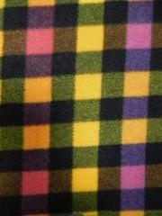 Polar Fleece Anti Pill Washable Soft Fabric- Multi Check Q1386 YL