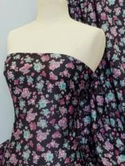 Poly Viscose Light Weight Sheer Fabric- Pink/Blue Rose Q735 PNBL
