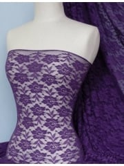 Lace Roses Stretch Fabric- Dark Purple Q365 PPL