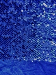 Showtime Velvet Fabric All Over Stitched 3mm Sequins Stretch- Rich Blue SEQ59 RCHBL